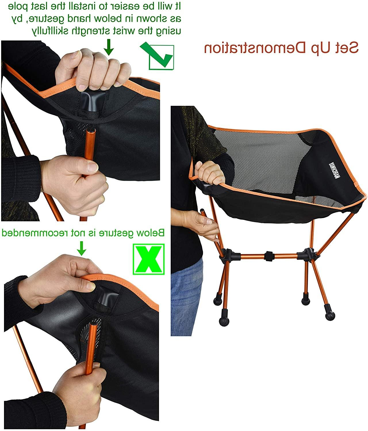 MARCHWAY Ultralight Folding Camping Chair with Anti-Sinking Feet,