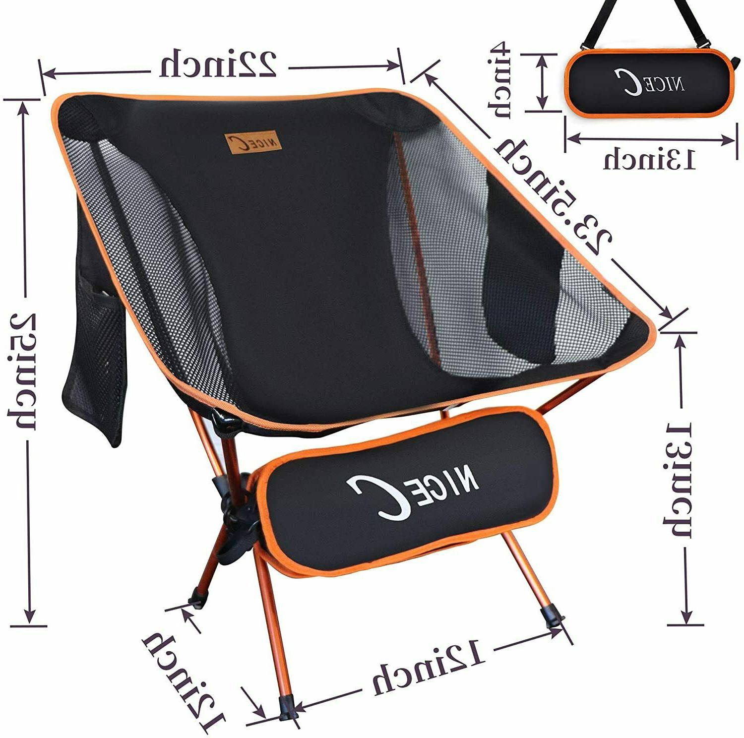 NiceC Ultralight Backpacking Chair with 2 Storage