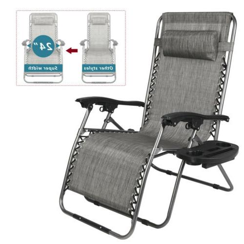 Zero Gravity Chair Lounge Chairs Lawn /w Cup Holder Portable