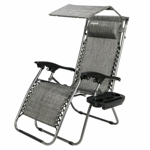 Zero Gravity Chair with Canopy Patio Sunshade Lounge Lawn Ch