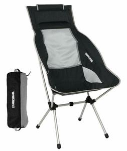 MARCHWAY Lightweight Folding High Back Camping Chair with He
