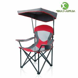 ALPHA CAMP Mesh Canopy Chair Camping Chair Folding Recliner-