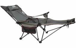 Mesh Lounge Reclining Folding Camp Chair with Footrest Adjus