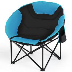 Moon Saucer Steel Camping Chair Folding Padded Seat w/Cup Ho