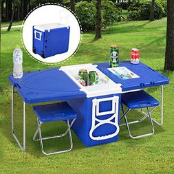 Waybackhome Multi Function Rolling Cooler Camping Picnic Tab