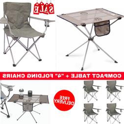 New Compact Side Table With Set Of 4 Classic Folding Camp Ch