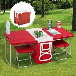 New Multi Function Rolling Cooler Picnic Camping Outdoor w/