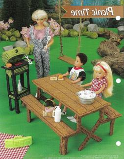 NEW PICNIC TIME GRILL & TABLE FASHION DOLL PLASTIC CANVAS PA