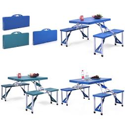 New Plastic Folding Portable Camping Picnic Table 4 Chairs S