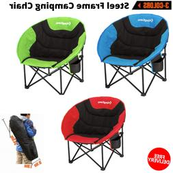 New Portable Steel Frame Camping Chair With Cup Holder And C