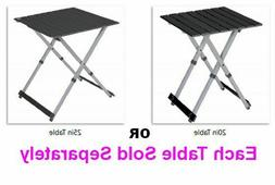 """Outdoor Compact Camp 20"""" or 25"""" Table Black Chrome Metal Cam"""