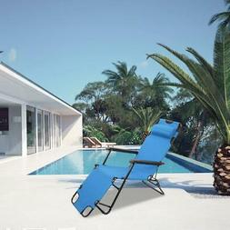 Outdoor Folding Reclining Beach Sun Patio Chaise Lounge Chai