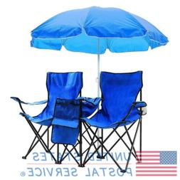 Outdoor Portable Double Folding Chair with Removable Sun Umb