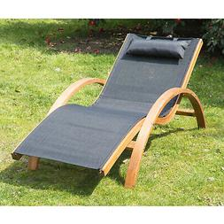 Outdoor Reclining Chaise Lounge Chair Pool Lawn Lounger Beac