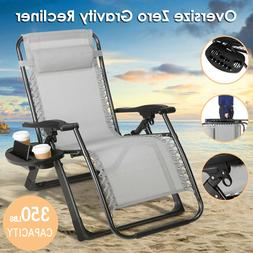 Oversize Zero Gravity Chair Folding Camping Patio Heavy Duty