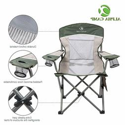 ALPHA CAMP Oversized Mesh Back Camping Folding Chair Heavy D
