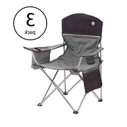 Coleman Oversized Quad Chair with Cooler and Cup Holder, Bla
