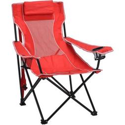 Ozark Trail Steel Frame Oversized Mesh Lounge Chair, Red, 1