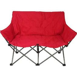 OZARK TRAIL Padded Love Seat Chair Quad Folding Red Camping