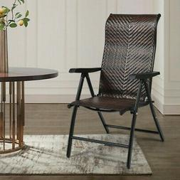 Patio Rattan Folding Chair Recliner Back Adjustable Portable