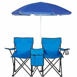 Picnic Double Folding Chair w/Umbrella Table Cooler Fold Up