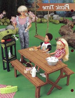 Picnic Time Table Grill fits Barbie Doll Plastic Canvas PATT