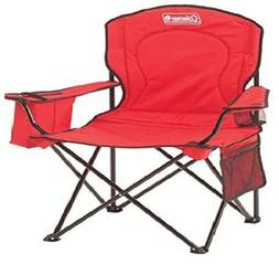 Coleman Portable Camping Quad Chair With 4-Can Cooler-Red, F