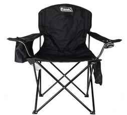 Coleman Portable Camping Quad Chair With 4-Can Cooler Black