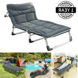 Portable Folding Camping Cot Reclining Chaise Outdoor Patio