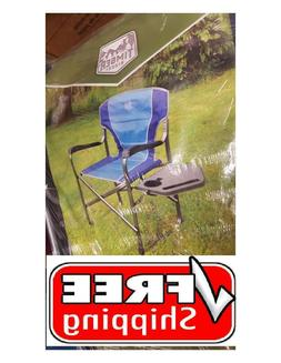 portable folding camping directors chair with side