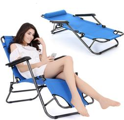Portable Folding Chaise Blue Lounge Chair Outdoor Pool Beach