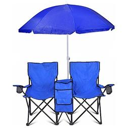 COSTWAY Portable Folding Picnic Double Chair W/Umbrella Tabl