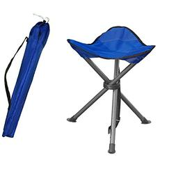 Portable Folding Tripod Stool Silver Flower Coated Slack Cha