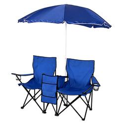 Portable Outdoor Double Folding Chair with Removable Sun Umb