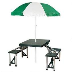 Stansport Portable Picnic Table and Umbrella Combo Pack