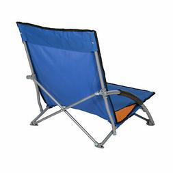 Stansport Low-Profile Fold-Up Chair, Blue/Orange