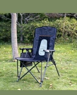 Quad Folding Camping Chair High Back Cup Holder Hard Armrest