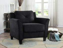 Rolled Arm Chair w/ Tufted Back Cushions/Hardwood Frame, Bla