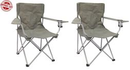 Set of 2 Quad Folding Camping Gray Chair Steel Frames One Ar