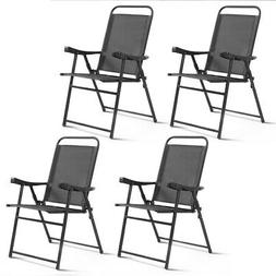Set Of 4 Folding Sling Chairs Patio Furniture Camping Pool B