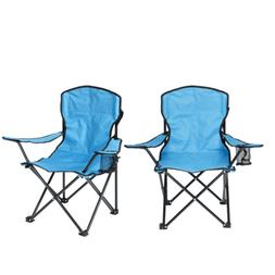 Set of Two Kid's Folding Camping Chairs,  Dodger Blue