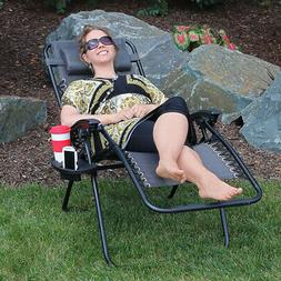 Sunnydaze Charcoal Zero Gravity Outdoor Lounge Chair with Pi