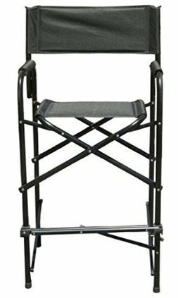 Tall Directors Chair Black Aluminum Frame Folding Chair Gard