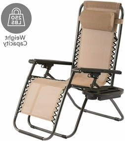 Tan Zero Gravity Chair w cup holder Folding Recliner Patio P