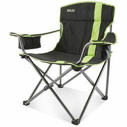 Uline Folding Camp Chair Black/Lime with Insulated Cooler Dr