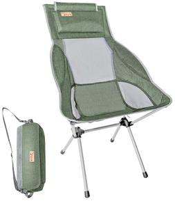 Ultralight High Back Folding Camping Chair With Headrest Out