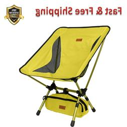 Yellow Portable Camping Chair with Adjustable Height Compact